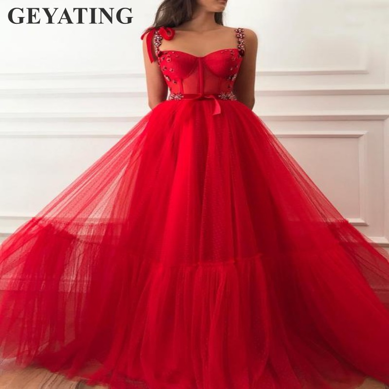 Elegant Red Tulle with Dots Long Evening   Dress   2019 Sexy Spaghetti Straps   Prom     Dresses   Women Formal Party Gowns Engagement   Dress