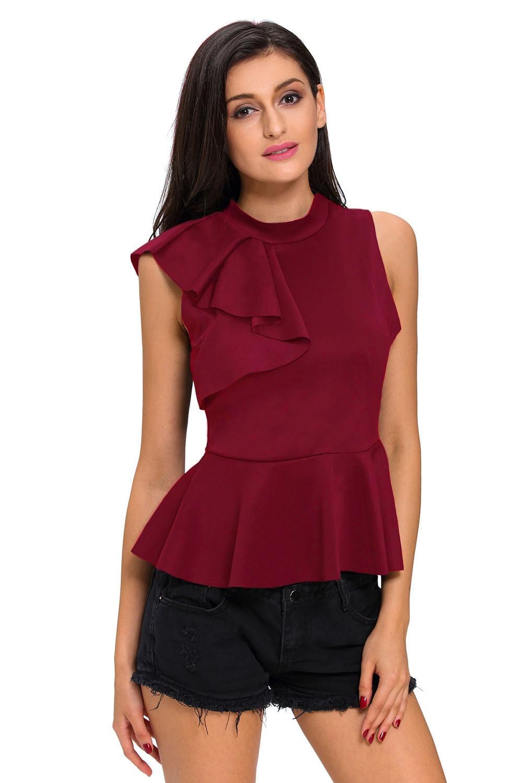 Echoine Asymmetric Ruffle Side Peplum Top Women Stylish Fitted Back Zipper Tank Tops Summer Black White Shirts Veste Femme