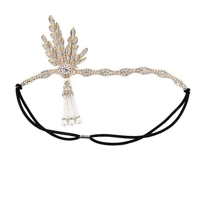 Women Headband Pearl Pendant Charleston Party Bridal Headpiece Lady Hair Vine Tiara Headband