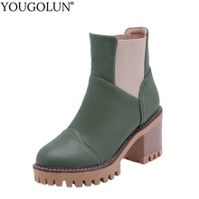 High Thick Heel Ankle Boots Women Spring Autumn Lady Square Heels A237 Elegant Woman Black White Green Round toe Platform Shoes