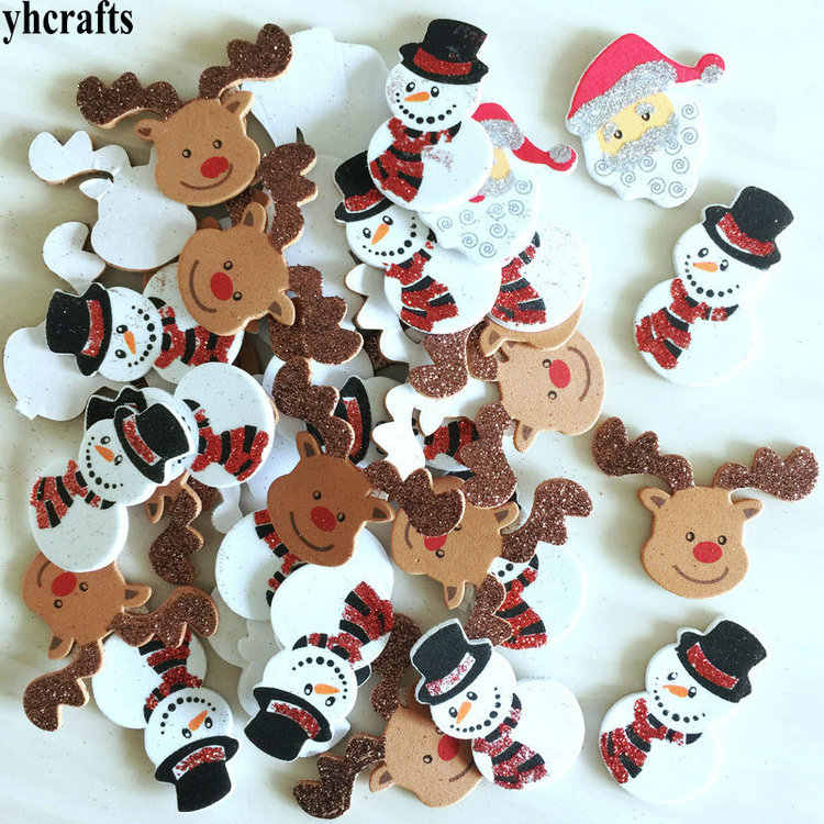20PCS/LOT.glitter Santa snowman elk foam stickers Xmas crafts Activity items Kids room decoration Decorative christmas diy toy