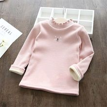2018 Autumn Girls Sweaters Baby Girls clothes Cat Ruched Thick Warm Backing Shirt Tops Baby Girls Sweater Kids Clothing Pullover(China)