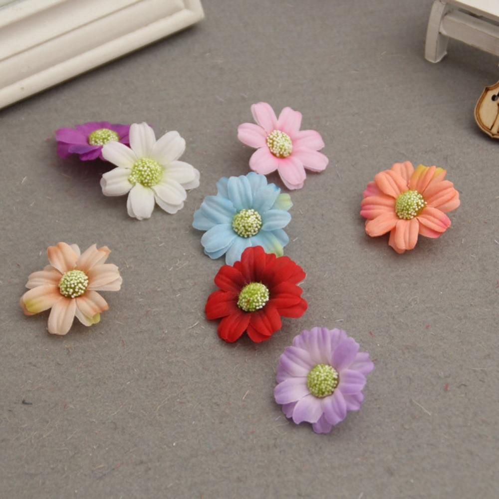 6pcs Handmade Fake Small Sunflower Headdress Wedding Decoration DIY Wreath Multicolor Flower Hair Jewelry Accessories 2017 New