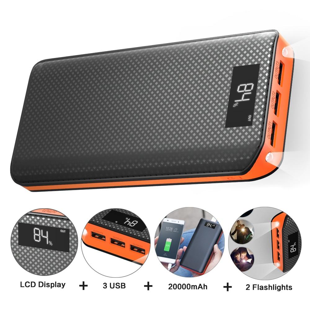 Banco Do poder 20000 mAh Powerbank 3 USB Bateria Externa para o iphone 6 6 s 7 8 10 iPad Samsung xioami Huawei Sony LG HTC Nokia.