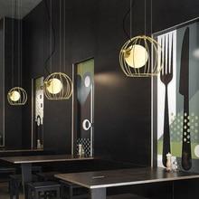 postmodern minimalist golden pendant light creative glass ball LED hanging kitchen dinner room cafe bar indoor lamps