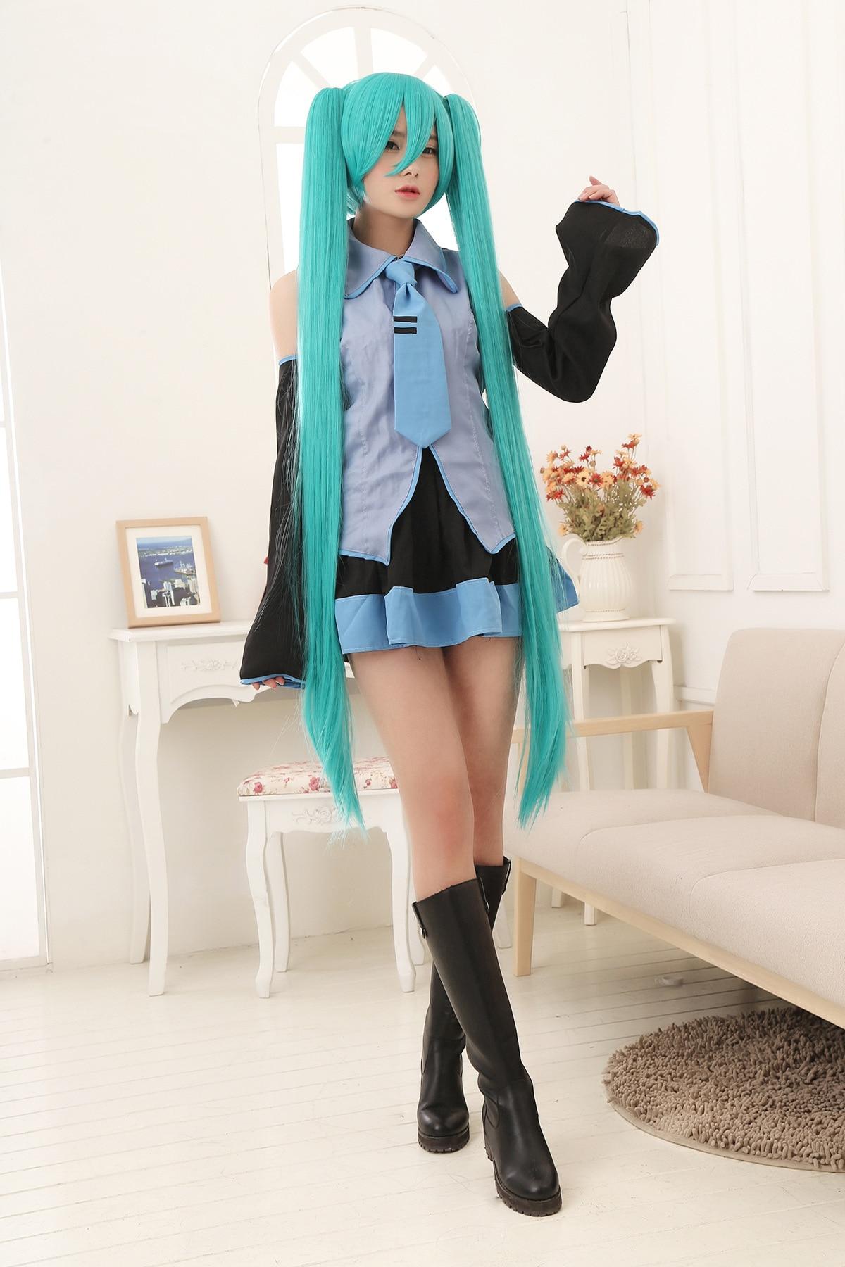 ФОТО Vocaloid Cosplay Hatsune Miku Costume With 130cm Long Miku Cosplay Wig hair Set Free shipping