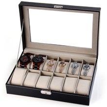 Professionnel 12 Grille Slots Bijoux Montres Affichage De Stockage de Boîte Carrée Cas À L'intérieur de Conteneurs Organisateur Box Holder caixa relogio