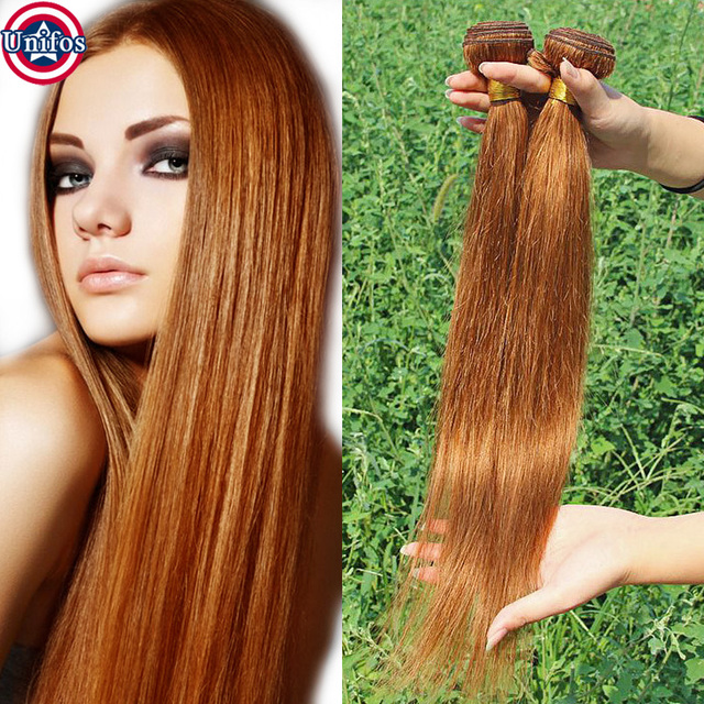 Brazilian Virgin Hair Straight Weave Medium Auburn Extensions Color 30 Tissage Bresilienne Lisse 2pcs