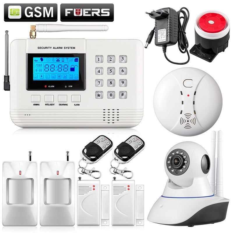 Fuers Q2 LCD Keyboard Wireless Home GSM PSTN Alarm Systems Intelligent Auto Dial Burglar Security Alarm System WIFI Camera Kit