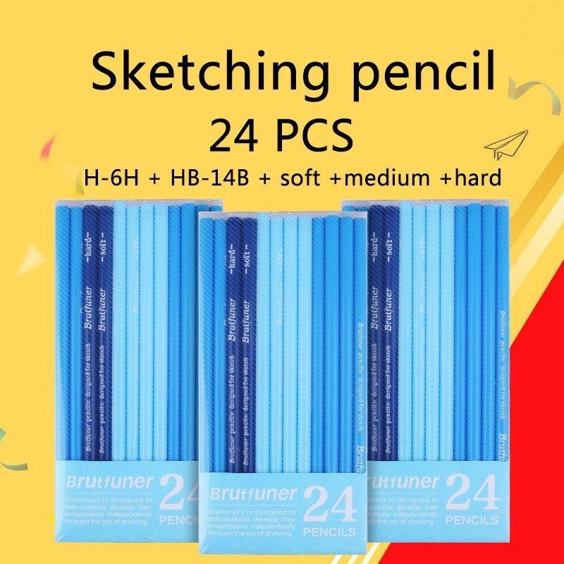 24 PCS Best Quality Sketching Pencil H-6H HB-14B Graphite Wood Pencils Professional Pencil Set For Drawing Student Art Supplies quality mechanical pencils made in japan pilot h 323 h 325 h 327 h 329 drawing special 0 3 0 5 0 7 0 9mm