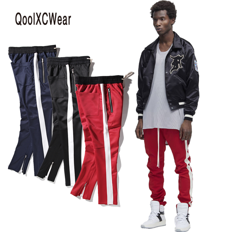 все цены на QoolXCWear new zipper pants hip hop Fashion jogger urban clothing red bottoms kanye FOG jogger justin bieber pants