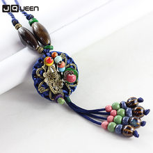 Handmade Rope Woven Vintage Tassel Pendant Necklace Japanese Style Long Sweater Chain Round Flower Beads woman Jewelry(China)