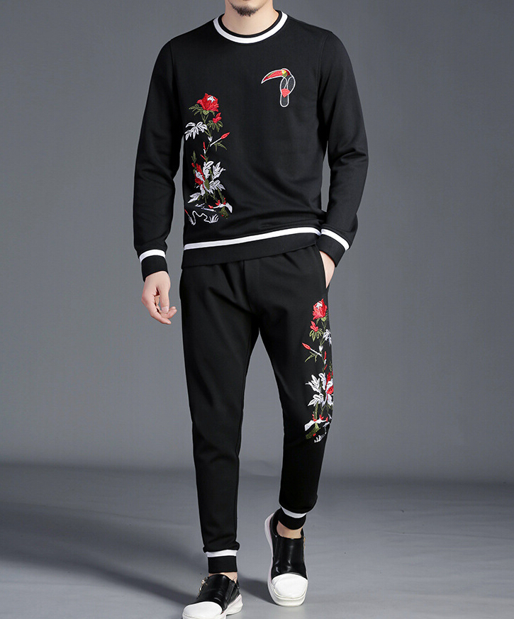 Fitness Tracksuit Hoodies Sets Casual Mens Clothing 2 Pcs Winter Design