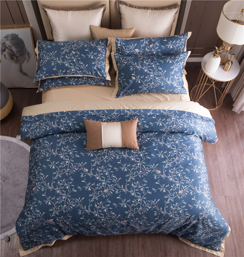 みすぼらしい Vinatge 鳥の葉花紺布団カバーセットキング、クイーンサイズのエジプト綿の寝具セットベッドシート枕シャムス  グループ上の ホーム&ガーデン からの 寝具セット の中 3