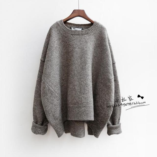 6b9fea36bd3 US $28.89 |2015 Fall Fashion Batwing Sleeve Knitted Women sweaters and  pullovers Ladies Thick Oversized sweater Plus size women clothes-in  Pullovers ...