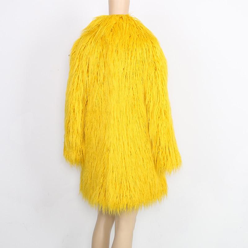 Longues Élégant Manches Veste Survêtement D'hiver Faux Nerazzurri Yellow Manteaux Shaggy Manteau Fausse En De Fourrure Fluffy Jaune Femmes Femelle 4zwdxw8qP