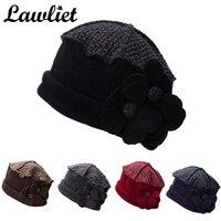 A125 Flower Waves Trimmed Womens Wool Beanie Cap Dress Crochet Hat 5 Color To Choose