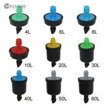 10 peças 4/6/8/10/20/30/40/50/60l pressão regulador de água de irrigação por gotejamento, mini emissor de linha