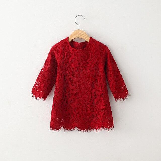 5ee15197e الاطفال الدانتيل الأحمر اللباس الأطفال الفتيات طويلة الأكمام القطن الملابس  رمش حافة س الرقبة فساتين على