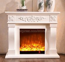 living room decorating and warming fireplace W120cm wooden mantel plus electric fireplace insert LED optical artificial flame