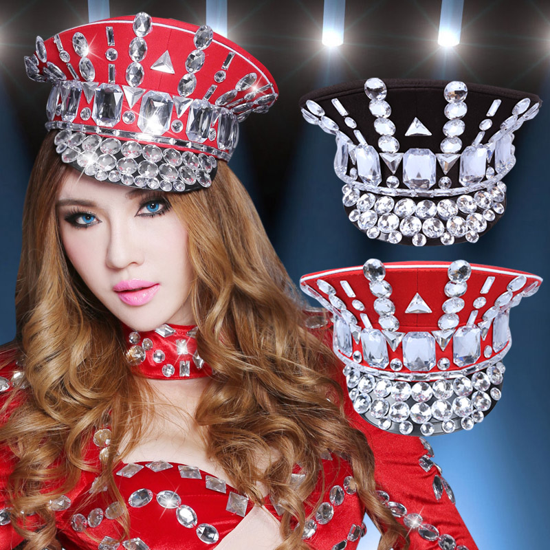 2017 Direct Selling Winter Military Hats Gorras New Dance Night Bar Ds Costume Accessories Rhinestone Hat Uniform Big Cover