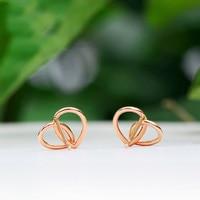 New AU750 Rose Gold Geometric Stud Earrings Women Stud Earrings