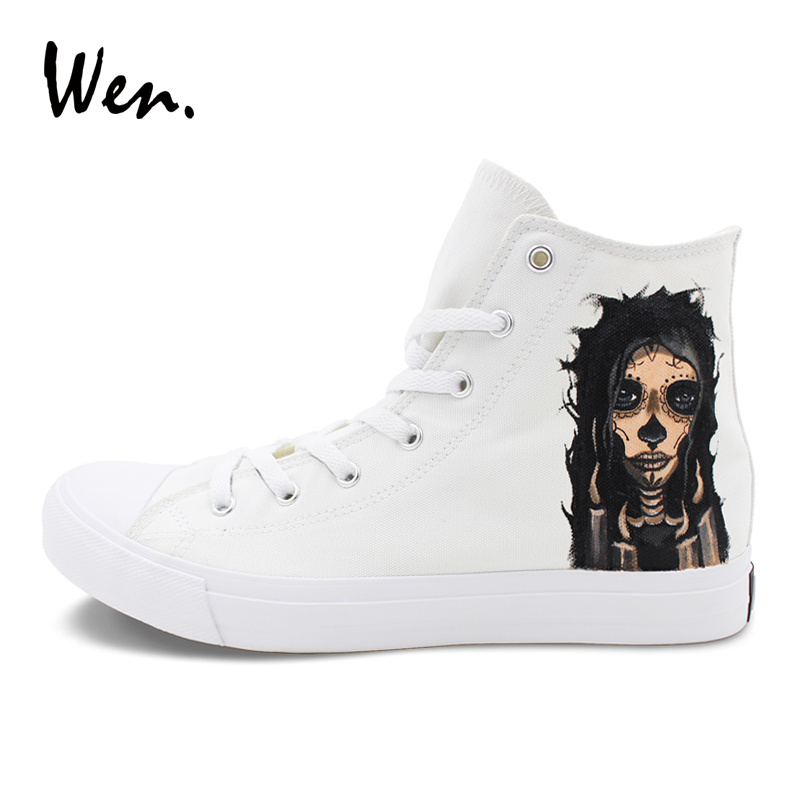 Wen Unisex Hand Painted Shoes Skull Zombie Girl Custom Design Canvas Sneakers Sports White High Top Skateboarding Shoes wen unisex design hand painted shoes anime kiki s delivery service high top canvas sneakers girl boy skateboarding shoes