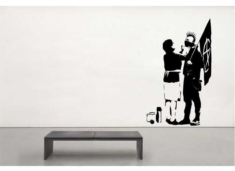 Banksy ' Punk's Mum ' Large Wall Sticker Decal mural wallpaper decoration for home wall art 60*100CM Free shipping