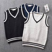 Retro little art Secondary color twisted striped V-neck sweater vest Dark Blue / Black White