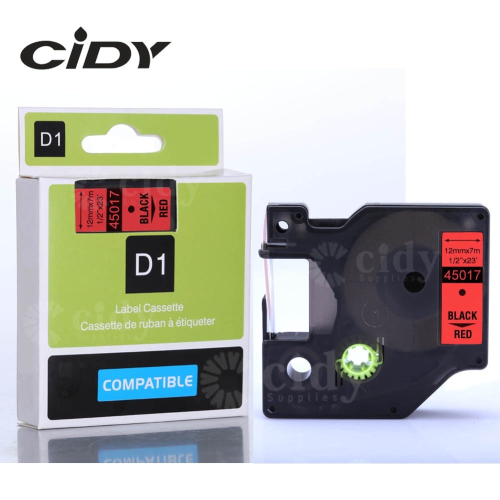 CIDY 100PCS 12mm 7m Black on Red 45017 tape for dymo label tape for DYMO LM160
