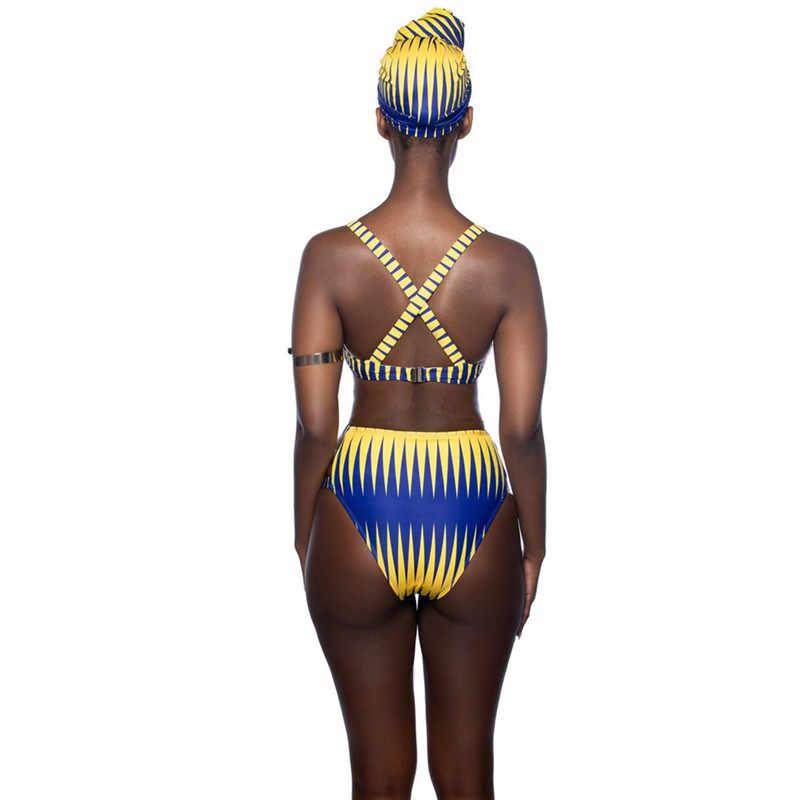 Полосатый купальник с высокой талией, женский купальник бикини, Африканский этнический купальник с вырезами, купальный костюм, купальный костюм для женщин, Maillot 2019