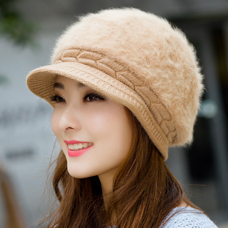 2017 new arrived autumn winter Skullies warm Beanies women solid Casual caps rabbit fur hats Ear protection hat cap skullies