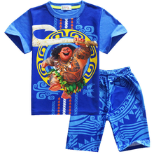 Cartoon Moana Clothes Boys Clothing Cotton Pajamas Set Maui Costume 2 piece set Toddler Boy Sleepwear Summer Sport Suits