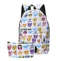 High Quality Cool Kids Cute smile Emoji Backpack Child ransel School mochila Backpacks Bookbag Printed Students Bag 2pcs/set