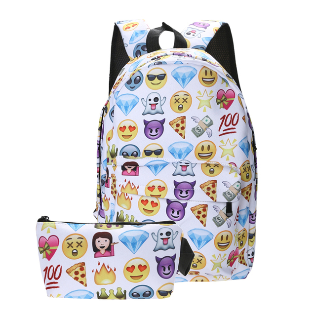 8fff53ea8d79 MOJOYCE Cartoon Cute smile Emoji Backpack Nylon Printing Backpack emoji  Backpack School bags teenager girls backpack