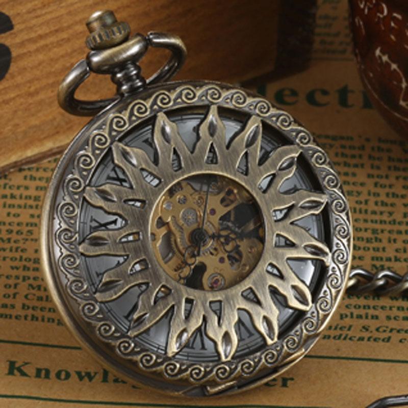Luxury Sun Pattern Steampunk Retro Bronze Roman Num Pendant Mechanical Pocket Watch Waist Chain 2 Sides Case Mechanical Watch
