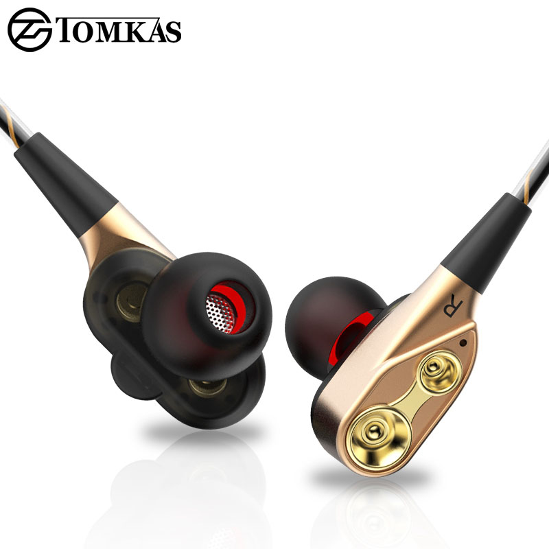 TOMKAS In-Ear Earphones Double Dynamics Sound Quality Music High-End Headphone Sport Headset With Microphone Earphone For Phone