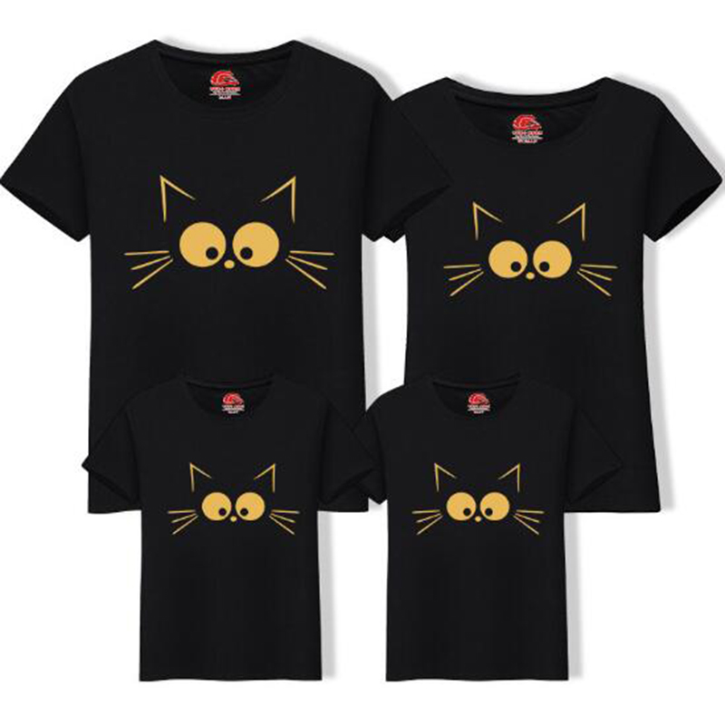 Family Sets T Shirt Cute Cat Dad and Me Clothes Mother Kids Summer T-Shirt Mom Daughter Father Son Top Family Matching Outfits