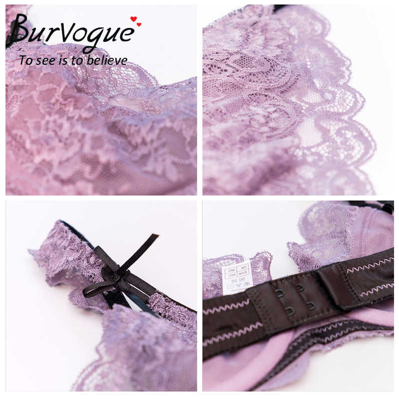 08f01215b47c ... Burvogue Women Sexy Lace Bra Set Lingerie Set Push Up Unlined Bra and  Panties Intimate Underwear