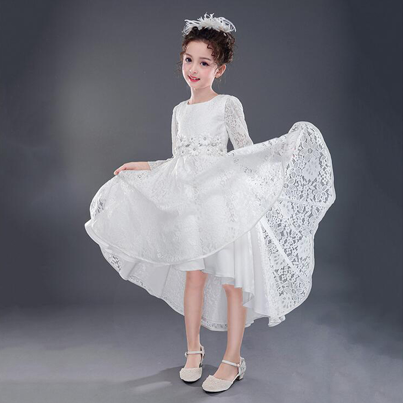 Ankle-Length Princess Dress For First Communion Tulle Flower Girl Dresses For Wedddings Lace Long Sleeve Girls Pageant Dresses 1 12t pink lace long trailing wedding dress flower girl dresses appliques first communion dresses for girls pageant dresses