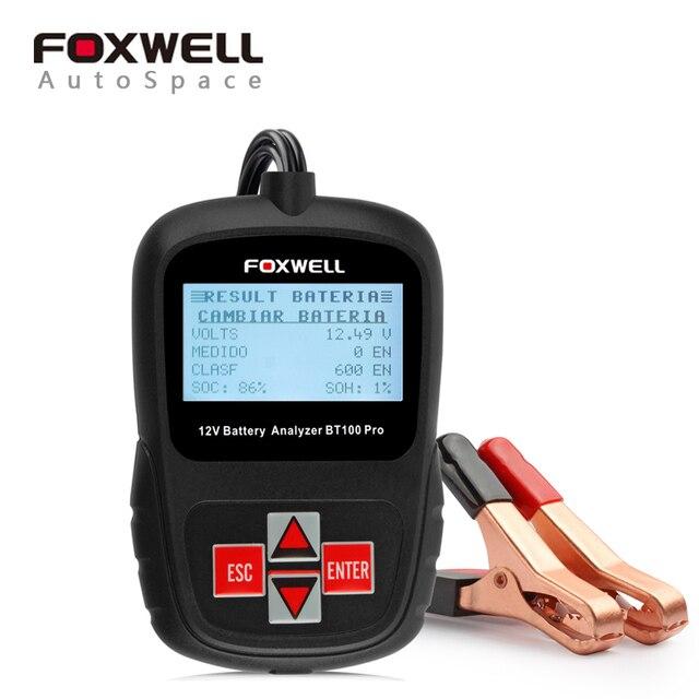 Foxwell BT100 Pro 12 В 1100CCA Тестер Автомобильный Аккумулятор Анализатор Инструмент BT-100 Автомобильной Зарядки 12 Вольт Система Нагрузки AGM Тест BT 100