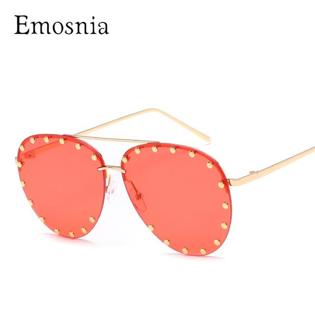 Emosnia lentes rojas gafas de sol piloto mujeres hombres gafas de sol  remache marca transparente diseñador 78502ddd52da