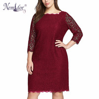 Nemidor Hot Sales Women Elegant Plus Size 3 4 Sleeve Retro Dress Stretchy Lace Knee Length