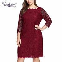 Nemidor Hot Sales Women Elegant Plus Size 3 4 Sleeve Retro Dress Stretchy Lace Knee Length