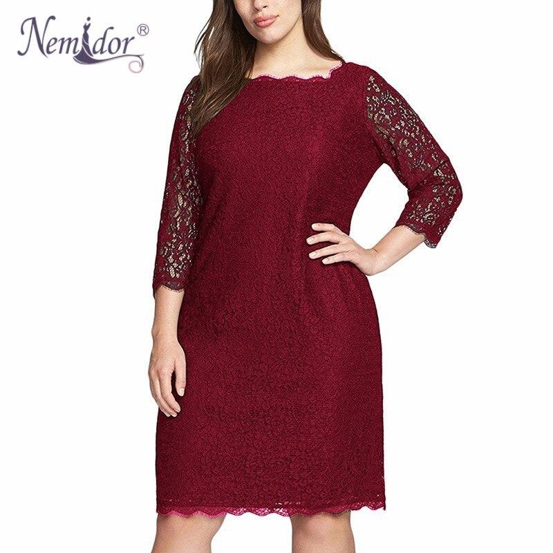 Nemidor Hot Sales Women Elegant Plus Size  Sleeve Retro Dress Stretchy