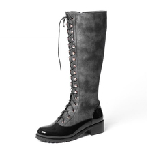 Genuine Leather 2016 Lace Up High Quality Knee High Boots Zip Cozy Shoes Woman Patchwork Chunky Heels Platform Fall Winter Boots