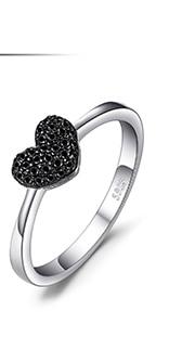 JPalace Love Heart Genuine Black Spinel Stud Earrings 925 Sterling Silver Earrings For Women Korean Earings Fashion Jewelry 2019
