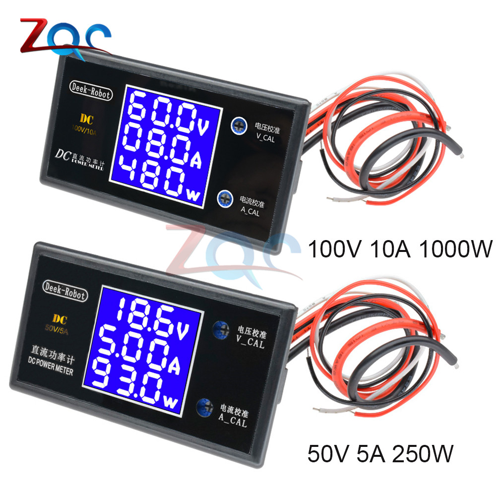 DC 0-100V 5A 10A 250W 1000W LCD Digital Voltmeter Ammeter Wattmeter Voltage Current Power Meter Volt Detector Tester Monitor