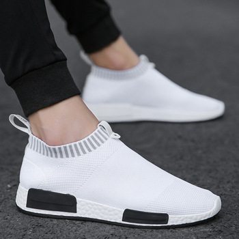 CORK Men Shoes Sneakers Men Breathable Air Mesh Sneakers Slip on Summer Non-leather Casual Lightweight Sock Shoes Men Sneakers
