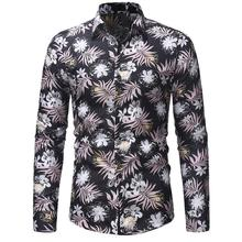 Long-sleeved Floral Shirts Male Blouse Men Hawaiian Shirt Men's Casual Slim Fit Flower Camisa masculina fashion spring autumn casual men shirt slim fit flower print linen shirt long sleeved shirts male floral social masculina m 5xl